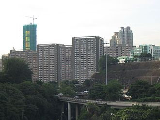 No. 12 Hill - Oi Man Estate on No. 12 Hill. Carmel Secondary School can be seen on the right