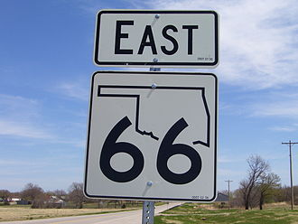 U.S. Route 66 in Oklahoma - New-style SH-66 shield west of Arcadia