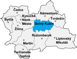 Localisation du district de Dolný Kubín  dans la région de Žilina (carte interactive)