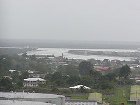Aerial view of part of Okrika mainland (foreground) and island (background)