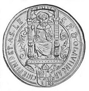 Olav Engelbrektsson - Olav Engelbrektsson's 1527 seal as the Archbishop of Nidaros, featuring St. Olav of Norway, from Harry Fett's 1909 book, Norges kirker i middelalderen.