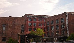 Old Market (Omaha, Nebraska) - Many of the original warehouses in the Old Market have been converted into lofts, such as the buildings above. The building on the right was heavily damaged by the January 2016 explosion and fire.