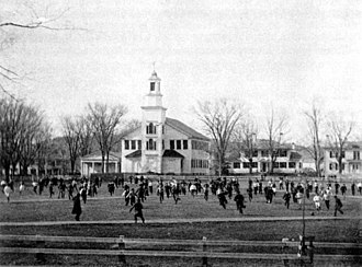 Early history of American football - Old division football being played on the Green at Dartmouth College in 1874.