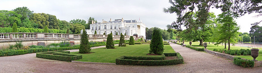 panoramic image of gardens at Oldway Mansion