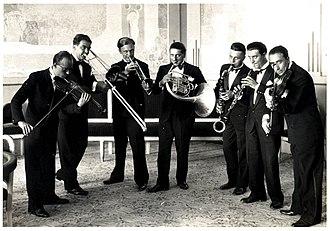 Pippo Barzizza - Blue Star Orchestra, 1928 or '29. Barzizza is to the left on violin.