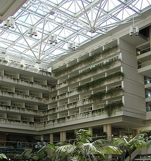 Orlando International Airport - View of the East Atrium, showing the on-site hotel rooms of the Hyatt Regency