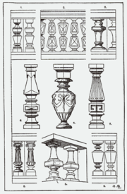 A page of fanciful balusters from A Handbook of Ornament, Franz S. Meyer, 1898
