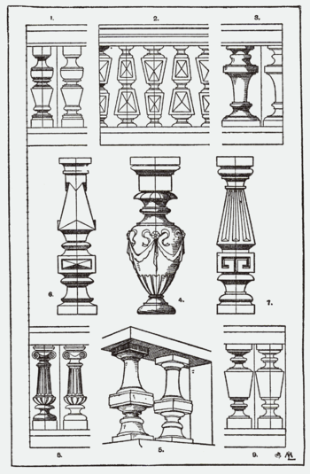 A page of fanciful balusters from A Handbook o...