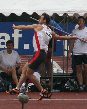 Javelin throw - German javelin thrower Stephan Steding during the 2007 IAAF World Championships in Osaka, Japan.