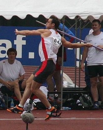 Javelin throw - German javelin thrower Stephan Steding during the 2007 IAAF World Championships in Osaka, Japan.