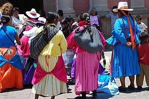 Tequisquiapan - Otomi women at the Main Plaza.