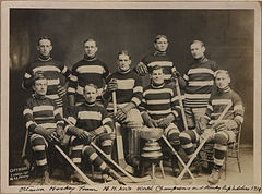 Two rows of men in striped hockey uniforms, the first row seated. In front of them on the floor is a large trophy