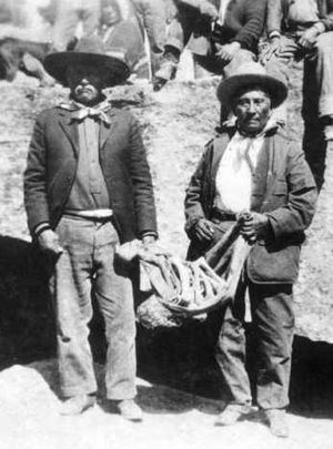 Ouray (Ute leader) - Buckskin Charlie and John McCook reburying Ouray's bones, Ignacio, Colorado, 1925
