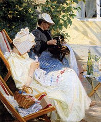 To damer i haven. Marie Krøyer og hendes mor. Skagen