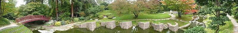 Panorama du jardin japonais moderne