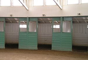 Triskaidekaphobia - Stall numbers at Santa Anita Park progress from 12 to 12A to 14.