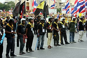 2008 Thai political crisis - A line of PAD demonstrators in Bangkok