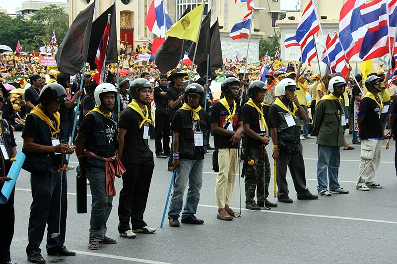 A line of PAD demonstrators armed with clubs and sporting royalist yellow. Source: Wikimedia