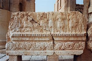 Temple of Bel - Relief at the courtyard of the temple showing detailed ornaments and depictions of Palmyrene war deities