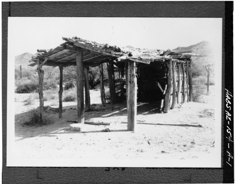 File:PERSPECTIVE VIEW OF NORTH AND WEST SIDE - Hocker Well, Jacal, Ajo, Pima County, AZ HABS ARIZ,10-AJO.V,2-A-1.tif