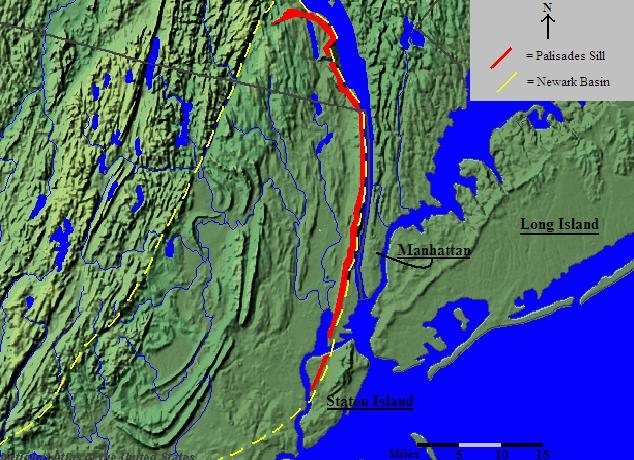 Palisades Sill Location Map