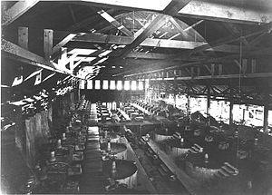 Pan amalgamation -  Amalgamation pans in a mill on the Comstock Lode, Virginia City, Nevada, 1900