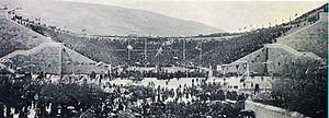 Olympic Stadium - Image: Panathenaic Stadium 1896 oppening