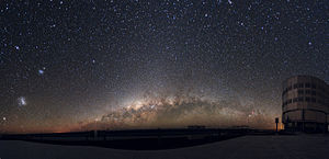 Small Magellanic Cloud - Panoramic Large and Small Magellanic Clouds as seen from ESO's VLT observation site. The galaxies are on the left side of the image.