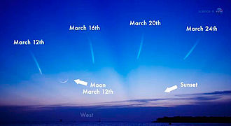 C/2011 L4 - For Northern hemisphere observers, Comet PANSTARRS was near the crescent Moon on 12/13 March 2013.