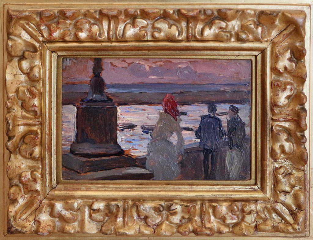 Paolo troubetzkoy, trittico, in porto, sulla terrazza, mercato, 04.jpg