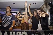 Paris Hilton and Afrojack at Cafe Mambo Ibiza.jpg