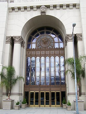 Park Plaza Hotel (Los Angeles) - Entrance of The Park Plaza Hotel Building, built 1923-24