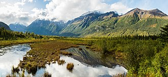 Eagle River, Anchorage - View of the mountainous scenery found in abundance in the upper Eagle River valley.