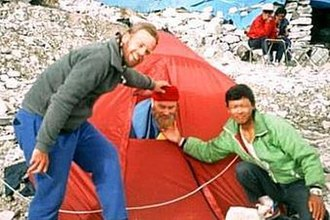 Brian Blessed - David Callaway, Blessed, and Pasang Sherpa at Everest Base Camp