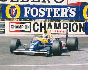 1991 Monaco Grand Prix - Mansell's team-mate, Riccardo Patrese, ran in third place until crashing on oil dropped by Stefano Modena, whose engine expired just ahead of him.