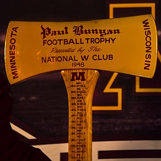 Minnesota–Wisconsin football rivalry - Image: Paul Bunyan's Axe at the 2018 Holidazzle Village 2018 12 20