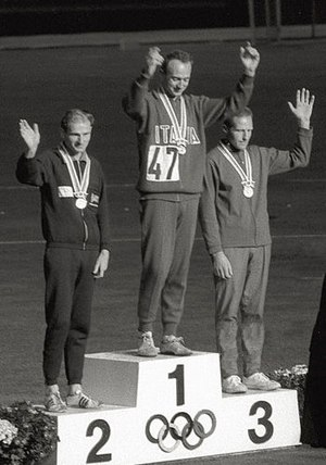 Athletics at the 1964 Summer Olympics – Men's 50 kilometres walk - Image: Paul Nihill, Abdon Pamich, Ingvar Pettersson 1964