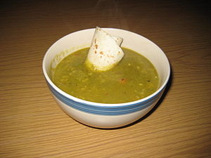 Wheat tortilla - A thick, American-style pea soup garnished with a tortilla sliver