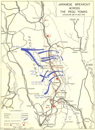 Battle of the Sittang Bend - Map of the Japanese break-out at Pegu