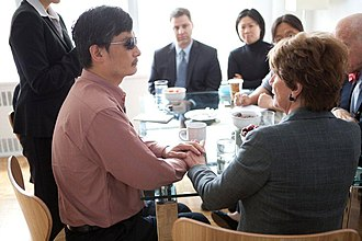 Chen Guangcheng - US Representative Nancy Pelosi meets with Chen Guangcheng in New York in June 2012