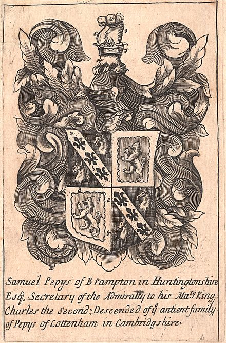 Bookplate, c. 1680-1690, with arms of Samuel Pepys: Quarterly 1st & 4th: Sable, on a bend or between two nag's heads erased argent three fleurs-de-lis of the field (Pepys ); 2nd & 3rd: Gules, a lion rampant within a bordure engrailed or (Talbot ). Samuel Pepys was descended from John Pepys who married Elizabeth Talbot, the heiress of Cottenham in Cambridgeshire. The Pepys arms are borne by the Pepys family, Earls of Cottenham PepysQuarteringTalbot.jpg
