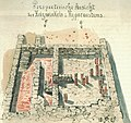 Perspektivische Ansicht des Heizwinkels und Hypocaustums bei einer Untersuchung römischer Ruinen in Rottweil 1885 durch Ausgräber Hölder.jpg