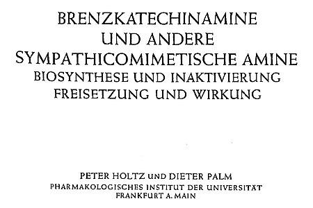 Deckblatt mit dem Titel: Brenzkatechinamine und andere sympathicomimetische Amine