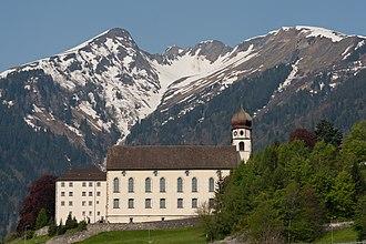 Pfäfers Abbey - Pfäfers Abbey and the Alps.