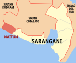 Map of Sarangani with Maitum highlighted