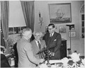 Photograph of President Truman in the Oval Office, evidently receiving a Menorah as a gift from the Prime Minister of... - NARA - 200318.tif