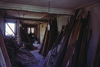 Renovation - The interior of a Victorian building in Lincoln Park, Chicago in the process of being renovated in June 1971. Note the elements of the edifice scattered and sorted about.
