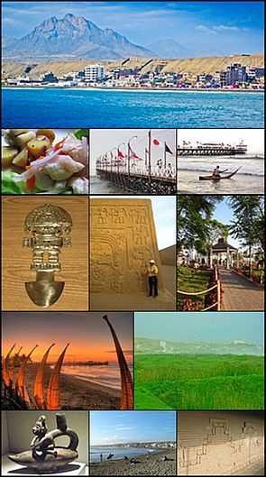 From top and left to right: View of Huanchaco beach, Dish of cebiche, Huanchaco pier, Saveguard in Caballito de Totora, Tumi: Chimu work,  Chan Chan: capital Chimu, Park in Huanchaco, Night view of the pier, Swamps of Huanchaco, Navegator Chimu in a Caballito de Totora, Surfers in Huanchaco, Wall in Chan Chan