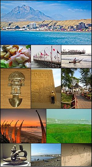 Huanchaco - From top and left to right: View of Huanchaco beach, Dish of cebiche, Huanchaco pier, Saveguard in Caballito de Totora, Tumi: Chimu work,  Chan Chan: Chimu capital, Park in Huanchaco, Night view of the pier, Swamps of Huanchaco, Navegator Chimu in a Caballito de Totora, Surfers in Huanchaco, Wall in Chan Chan