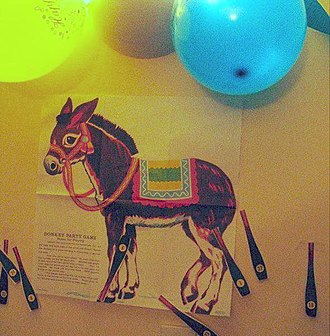Pin the tail on the donkey - An example of the game after it was played.